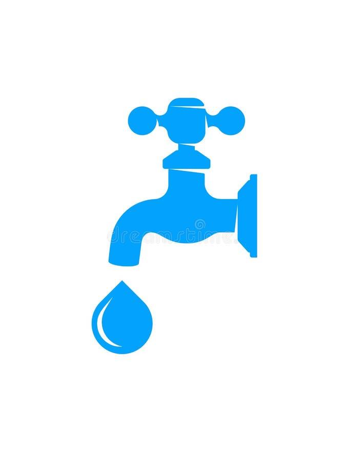 Faucet de água com gota ilustração do vetor