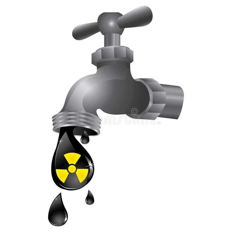faucet with drop water contaminated vector illustration