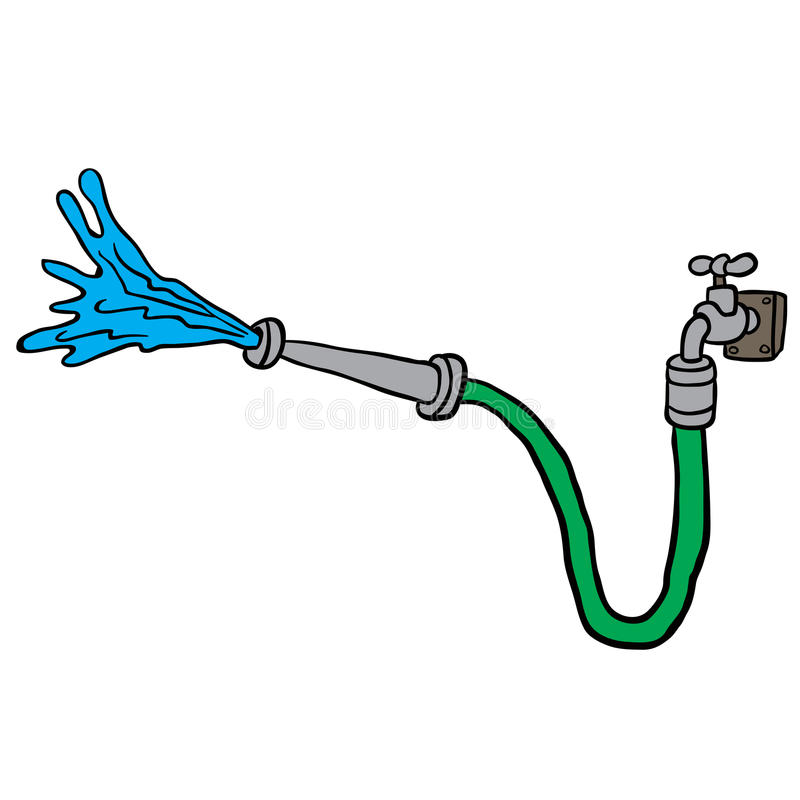 Faucet with garden hose stock illustration