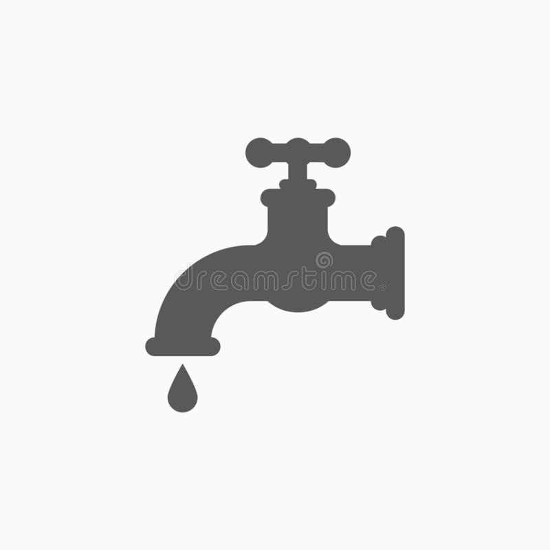 Faucet icon, cock, hydrant, water royalty free illustration