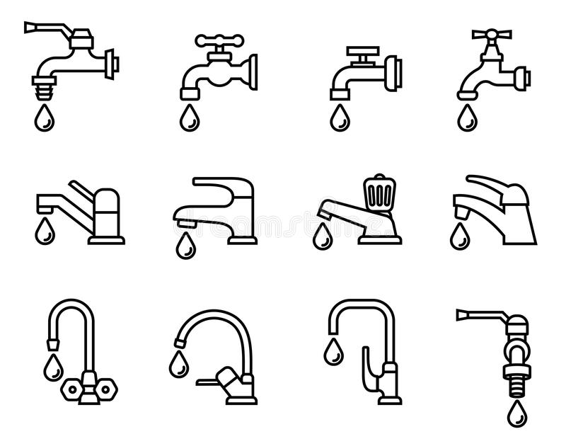 Faucet icon. Tap sign. Bathroom symbol royalty free illustration
