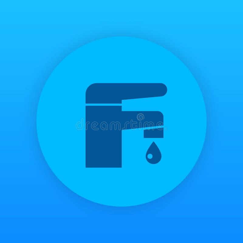 Faucet ikona, łazienka symbol ilustracji
