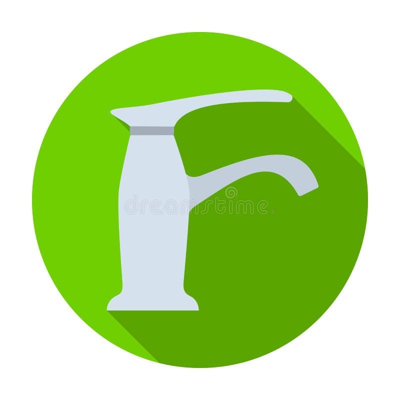 Faucet ikona w mieszkanie stylu odizolowywającym na białym tle Wodna filtracyjna systemu symbolu zapasu wektoru ilustracja ilustracji