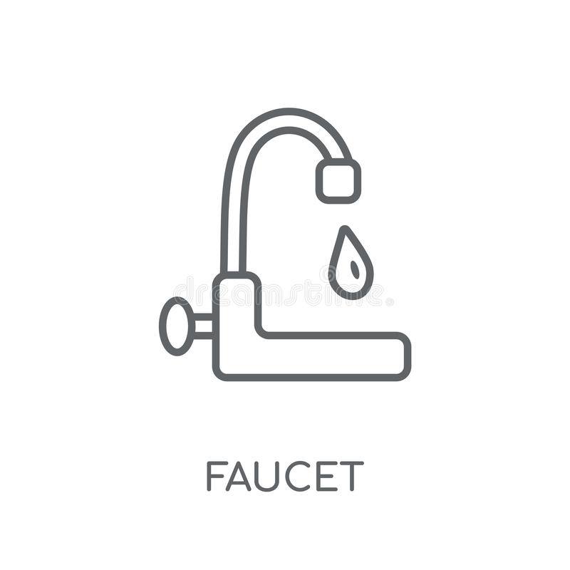 Faucet liniowa ikona Nowożytny konturu Faucet logo pojęcie na bielu ilustracja wektor