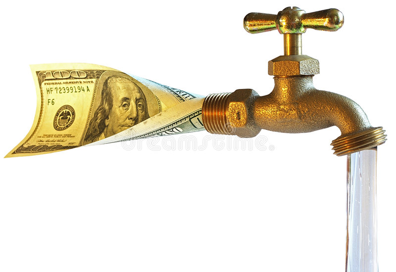 Faucet, Processing Dollars In Water Royalty Free Stock Photos