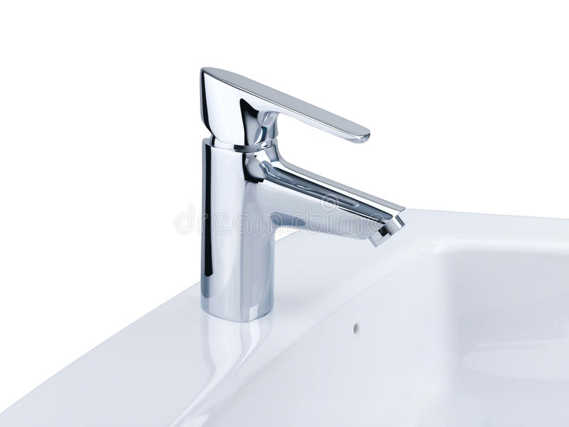 Download Faucet And Wash Basin Isolated On White Stock Image - Image: 19696923