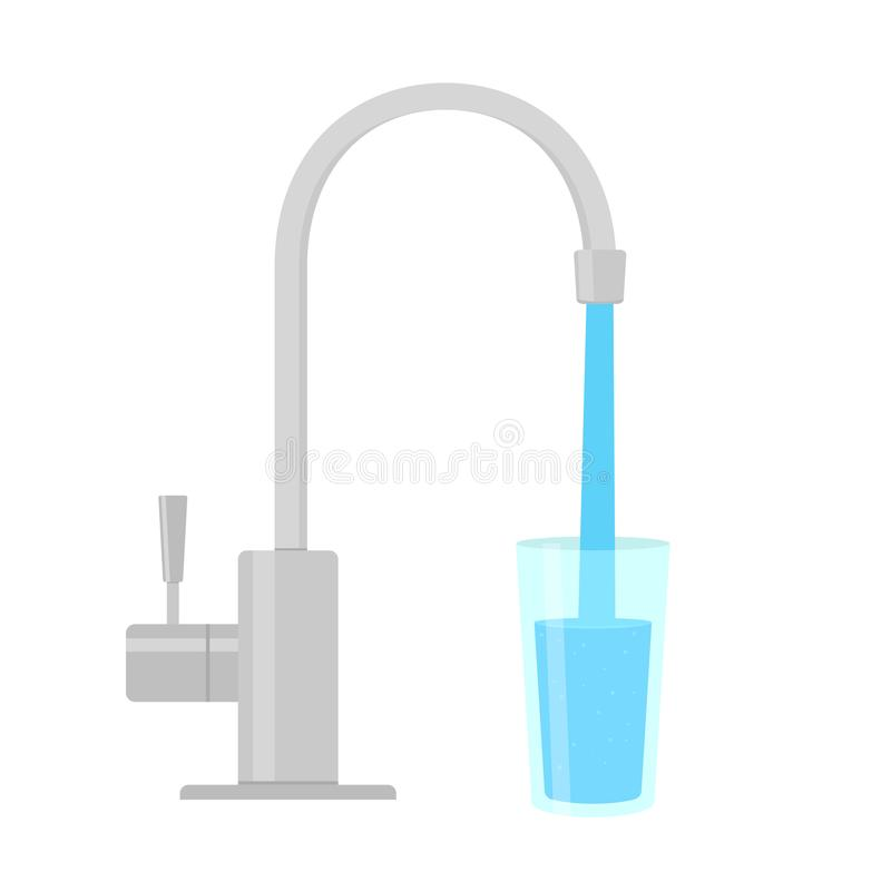 Faucet Water Filter. Vector image isolated on white background vector illustration