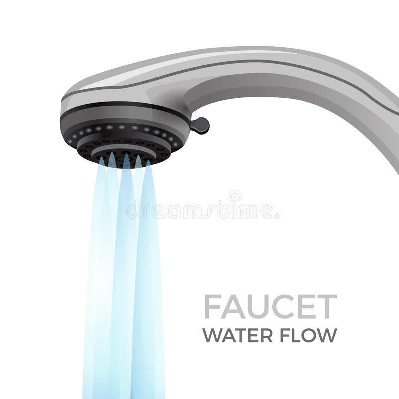 Faucet water flow promo banner with shower nozzle. Modern bathroom plumbing equipment with powerful current commercial isolated realistic vector illustration vector illustration