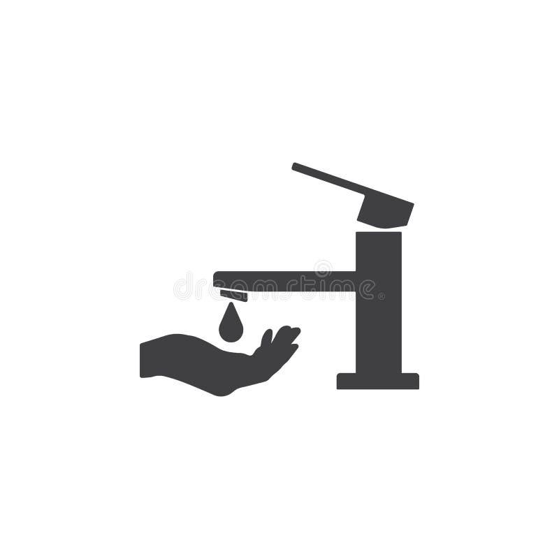 Faucet z ręki ikoną Wektoru kranowy symbol royalty ilustracja
