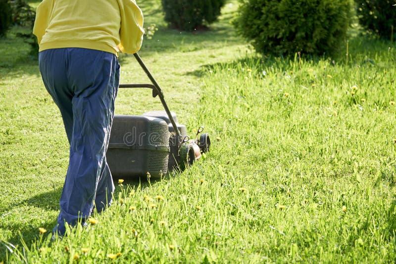 Fauchage de la pelouse avec une tondeuse à gazon électrique à la campagne photos stock
