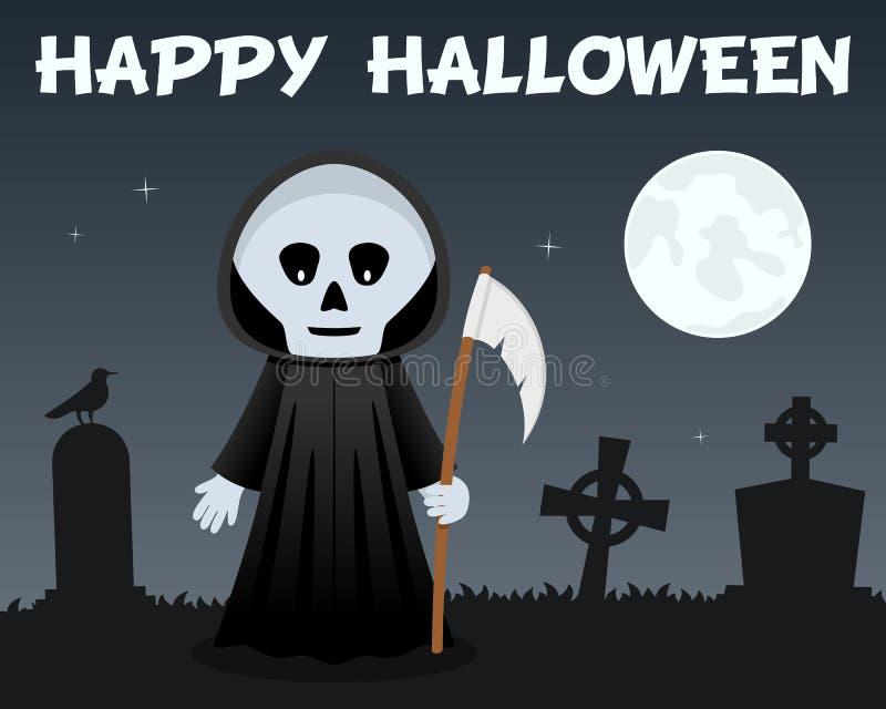 Faucheuse et cimetière heureux de Halloween illustration stock