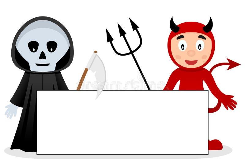Faucheuse et diable rouge avec la bannière vide illustration de vecteur