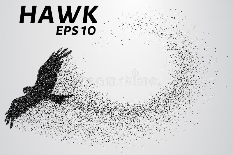 Faucon des particules La silhouette d'un faucon se compose de petits cercles Illustration de vecteur illustration stock