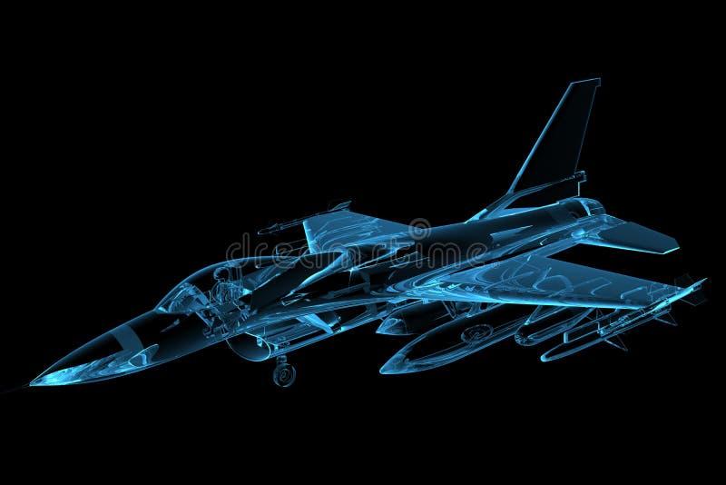 Faucon F-16 transparent rendu de rayon X bleu illustration stock