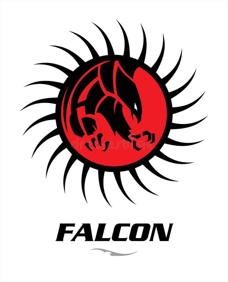 faucon noir de attaque avec la grande griffe pointue sur le cercle rouge tri photographie stock