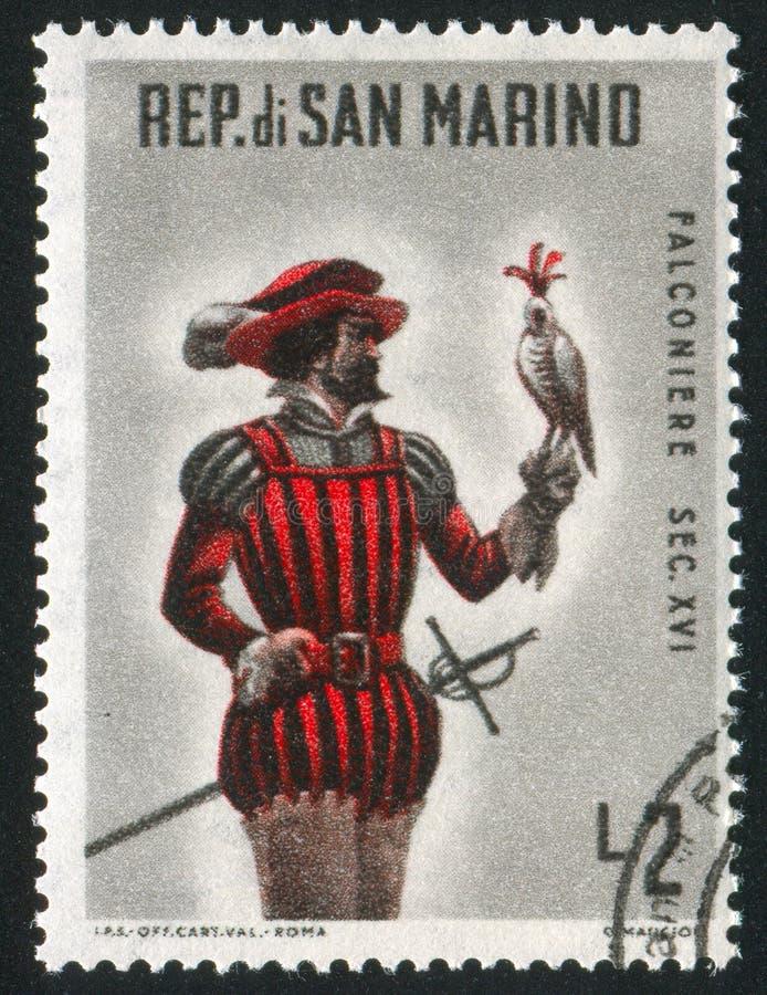 Fauconnier monté San Marino photographie stock libre de droits
