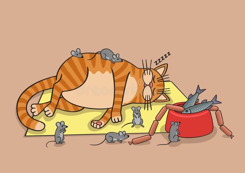Faule Katze stock abbildung