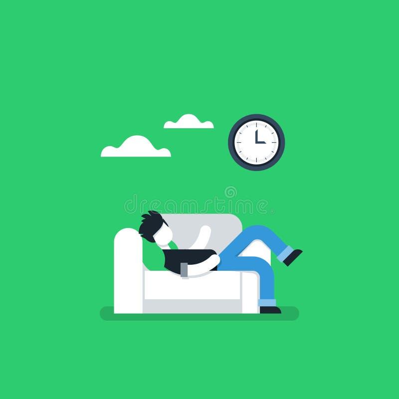 Faule Person, die auf Sofa, Aufschubgewohnheit stillsteht lizenzfreie abbildung