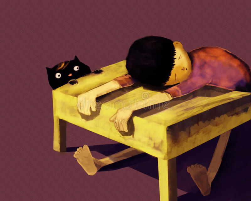 Fauler Junge, der auf Schreibtisch schläft stockfoto