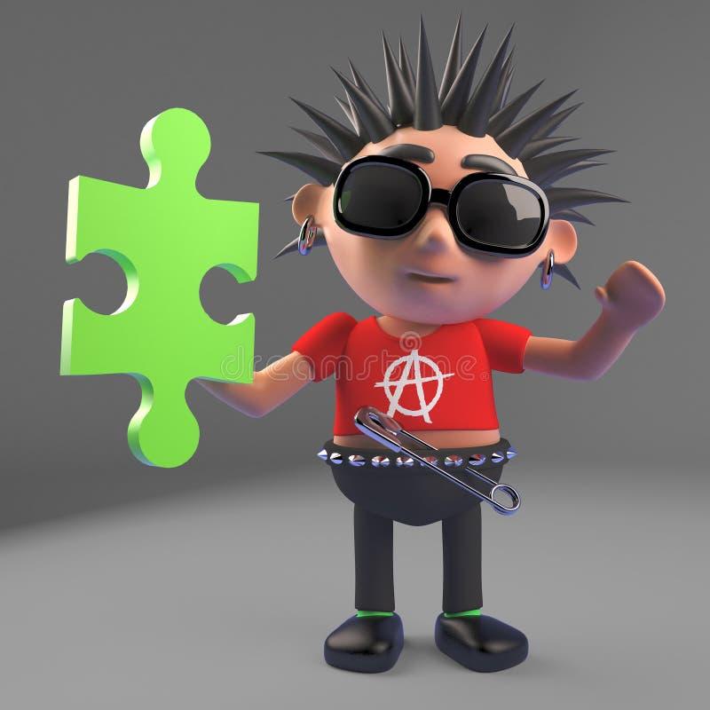 Fauler Punkrocker hat das Stück, das das Puzzlen löst, Illustration 3d lizenzfreie abbildung