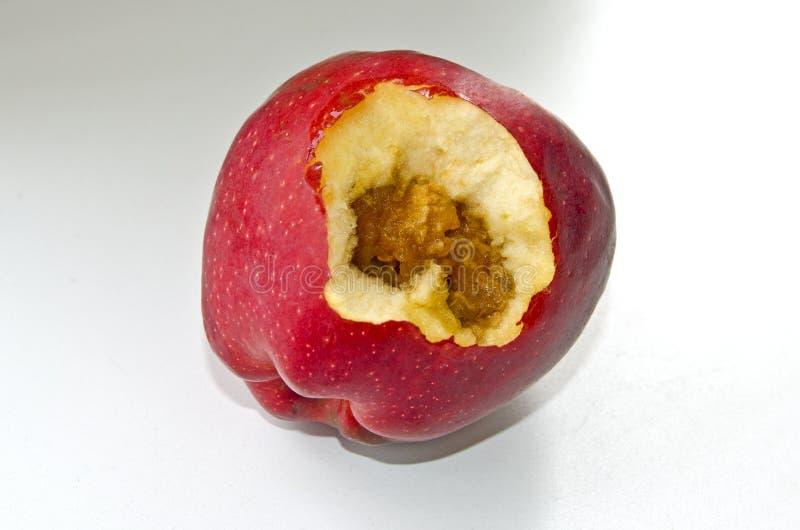 Faules Innere des roten, saftigen Apfels lizenzfreies stockbild