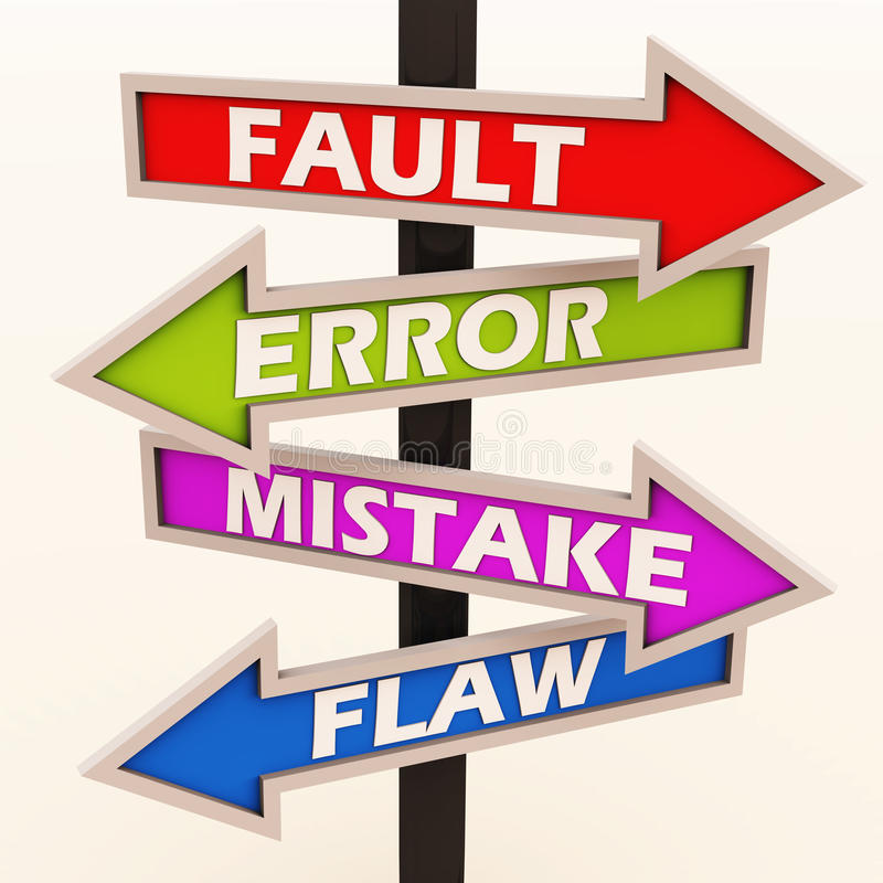 Fault error mistake and flaws. Sign board showing in different directions with the labels fault error mistake flaws