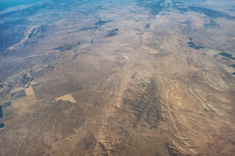 San Andreas Fault aerial view. The fault runs from top to bottom of the screen. This section is west of the Great Central Valley and north of Highway 58 and the royalty free stock images