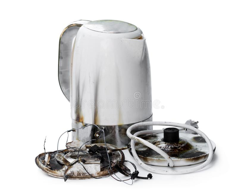 Faulty automatic electric kettle caught fire royalty free stock photo