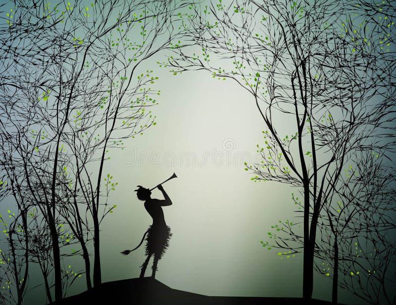 Faun het spelen in het de lentebos, royalty-vrije illustratie