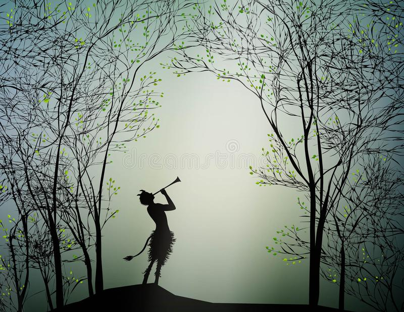 Faun playing in the spring forest, royalty free illustration