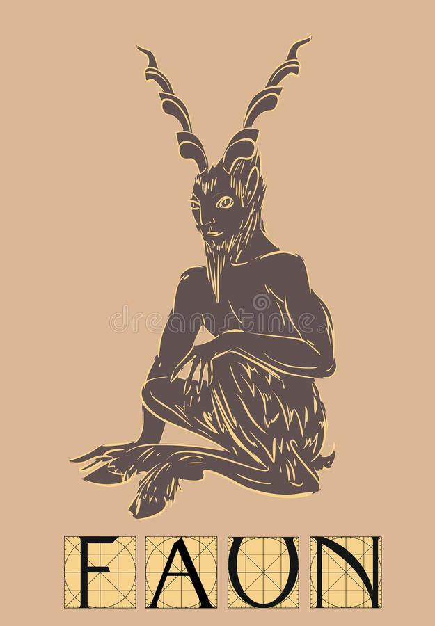 Faun with title royalty free illustration