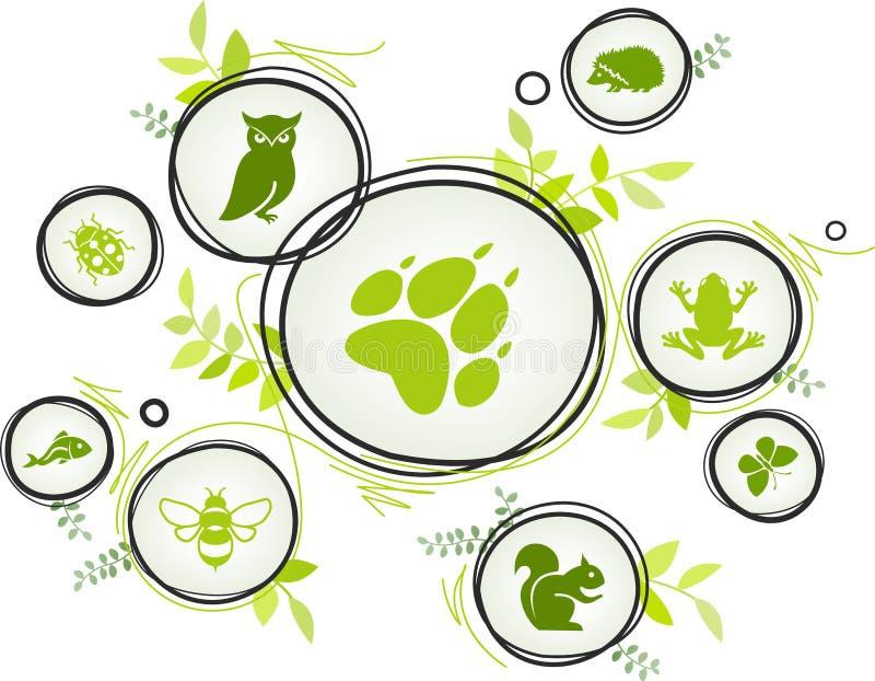 Fauna/concepto del icono de la biodiversidad – iconos en peligro de los animales, ejemplo del vector stock de ilustración
