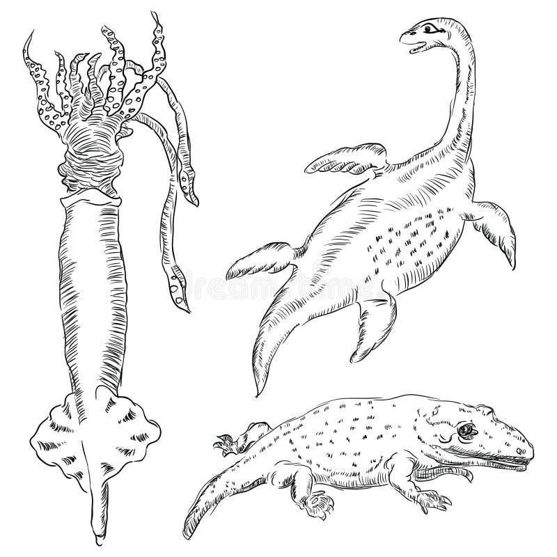 Fauna-paleontologia illustrazione vettoriale