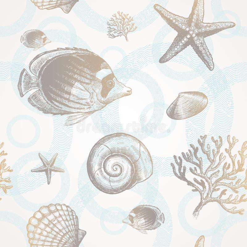 Fauna tropical subacuática ilustración del vector