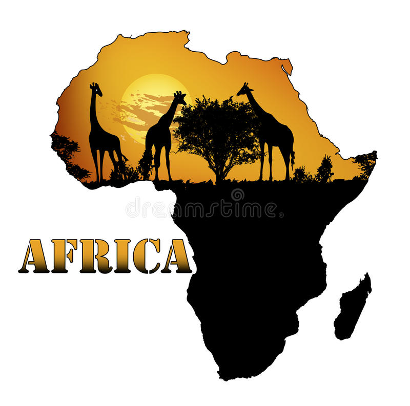 Fauna von Afrika auf der Karte stock abbildung