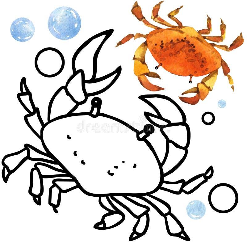 Faune de récif coralien de livre de coloriage Illustration de poissons de bande dessinée pour le divertissement d'enfant illustration stock