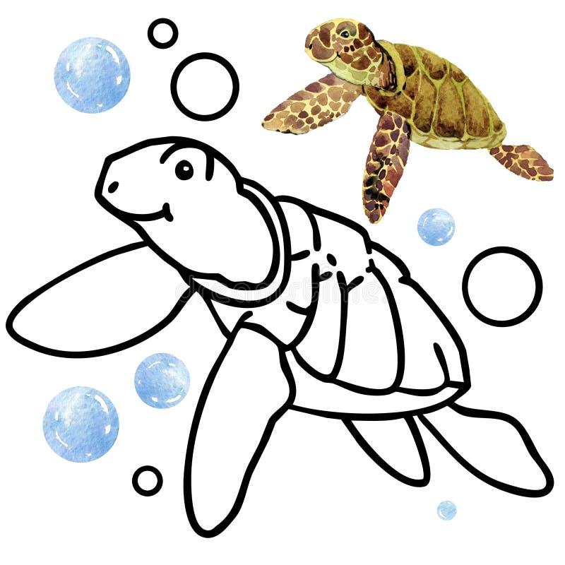 Faune de récif coralien de livre de coloriage Illustration de poissons de bande dessinée pour le divertissement d'enfant illustration libre de droits