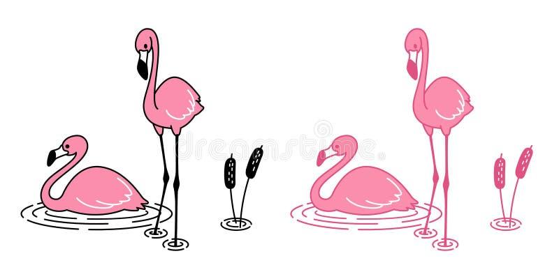 Faune tropicale animale mignonne de flamant de vecteur de bande dessinée d'icône de caractère de logo de flamants d'oiseau exotiq illustration de vecteur
