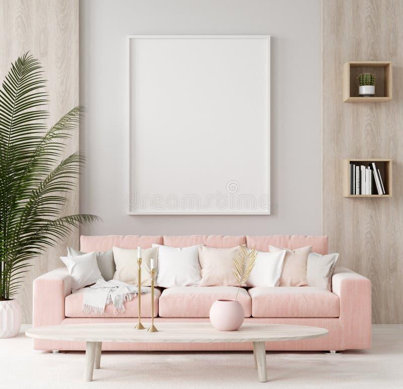 Fausse affiche haute à l'arrière-plan intérieur à la maison chaud, printemps photos stock