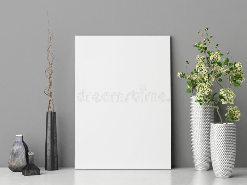 Fausse affiche haute avec la composition en décoration de fleurs sur le mur gris photo libre de droits