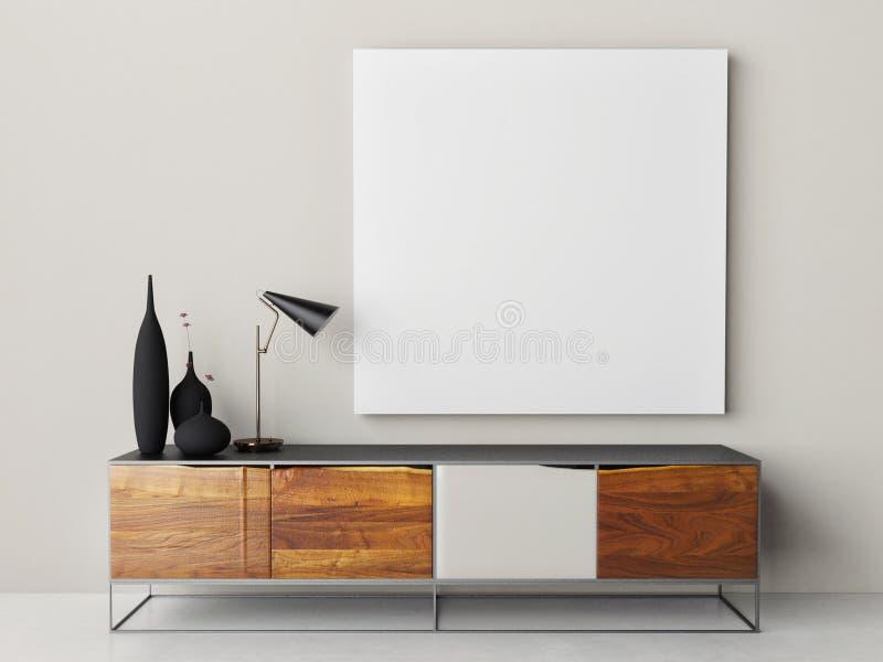Fausse affiche haute avec le rétro coffre du tiroir, de la lampe et de la décoration à la maison illustration stock
