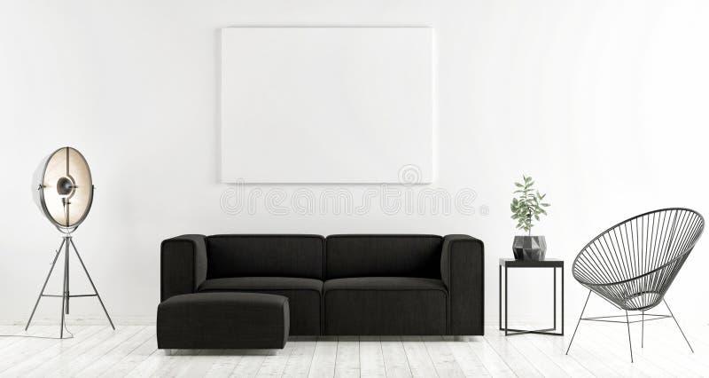 Fausse affiche haute avec le sofa foncé, conception scandinave, illustration de vecteur