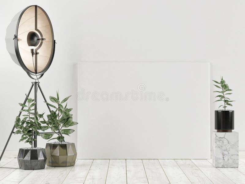 Fausse affiche haute avec le sofa foncé, conception scandinave, photo stock