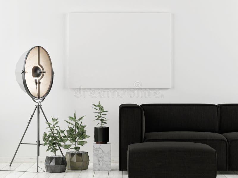 Fausse affiche haute avec le sofa foncé, conception scandinave, photographie stock libre de droits