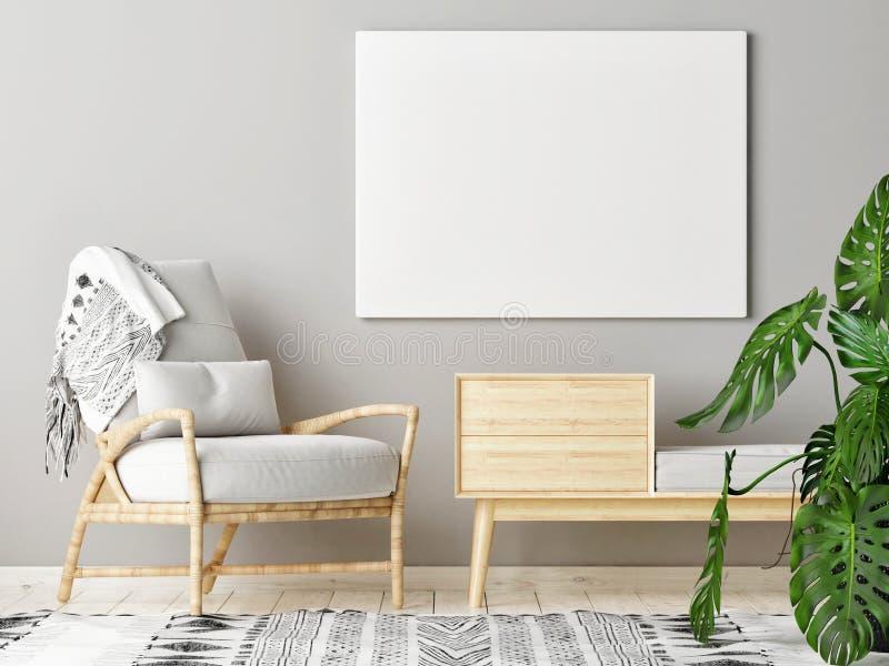 Fausse affiche haute dans le salon scandinave avec la décoration images libres de droits