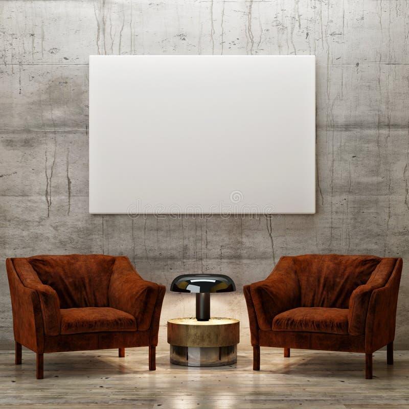 Fausse affiche haute, pièce d'exposition avec deux fauteuils, illustration de vecteur