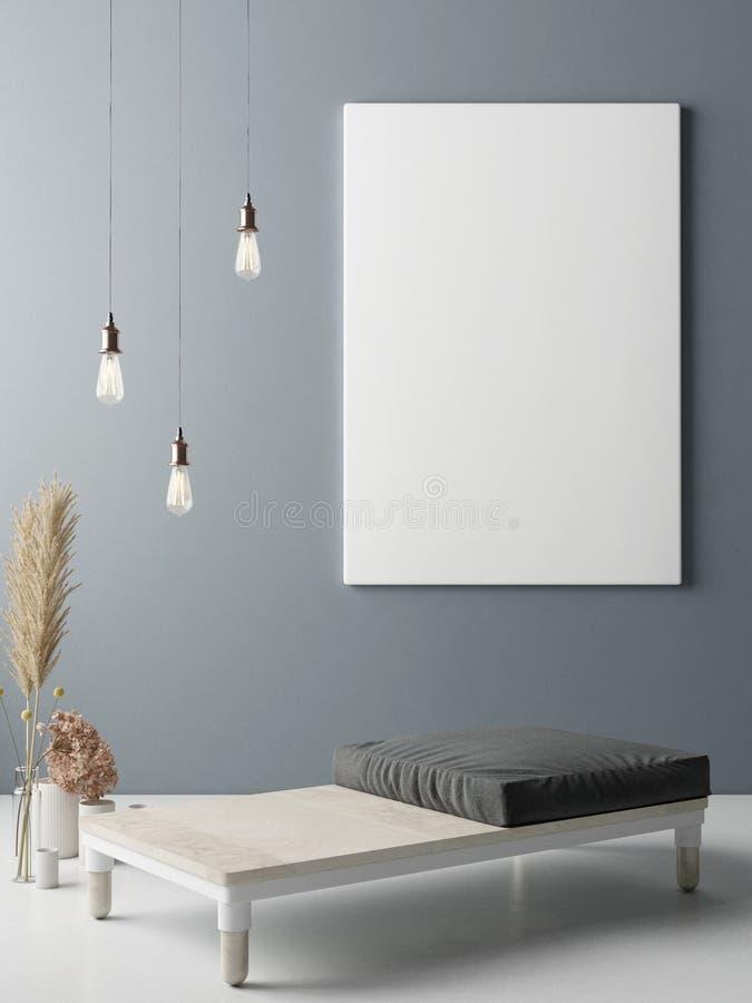 Fausse affiche haute sur le mur, conception intérieure de minimalisme illustration de vecteur