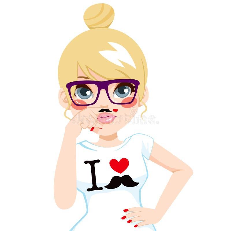 Fausse fille blonde de moustache illustration de vecteur