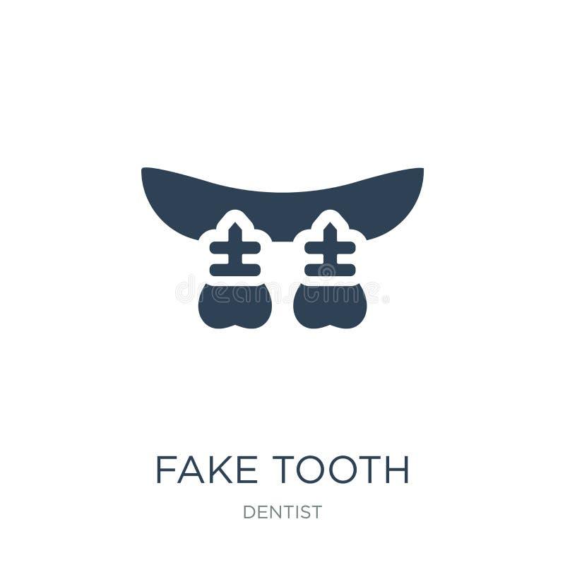 fausse icône de dent dans le style à la mode de conception fausse icône de dent d'isolement sur le fond blanc fausse icône de vec illustration stock