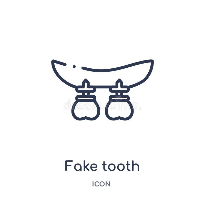 Fausse icône linéaire de dent de collection d'ensemble de dentiste Ligne mince fausse icône de dent d'isolement sur le fond blanc illustration libre de droits